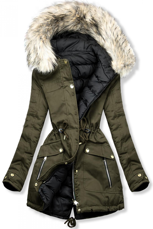 Khaki-černá oboustranná zimní parka