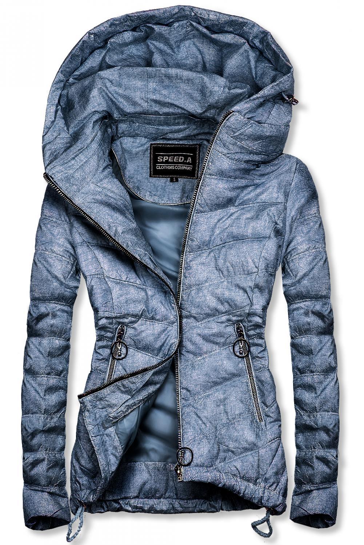 Světle modrá melírovaná jarní bunda